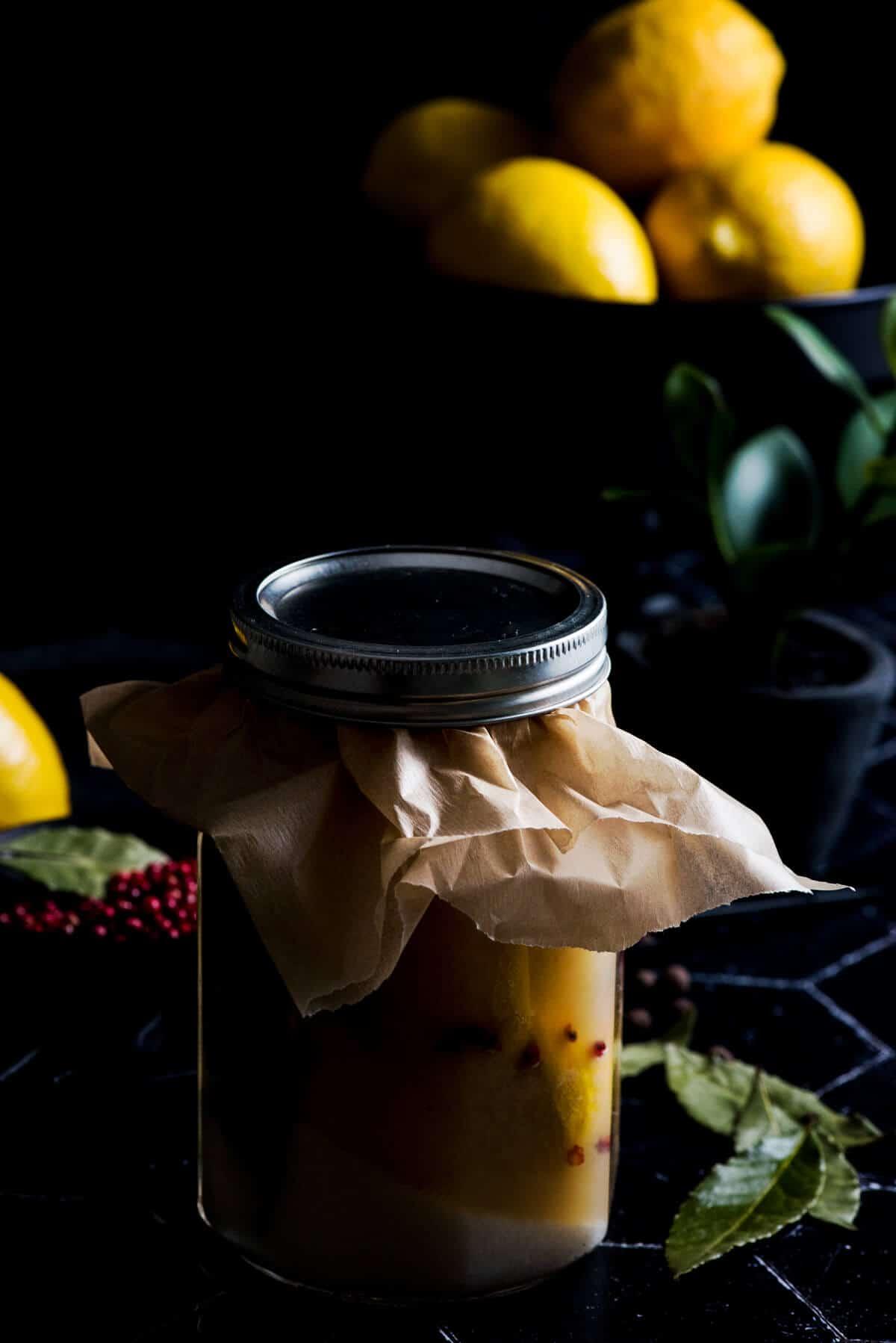 Jar of sealed preserved lemons