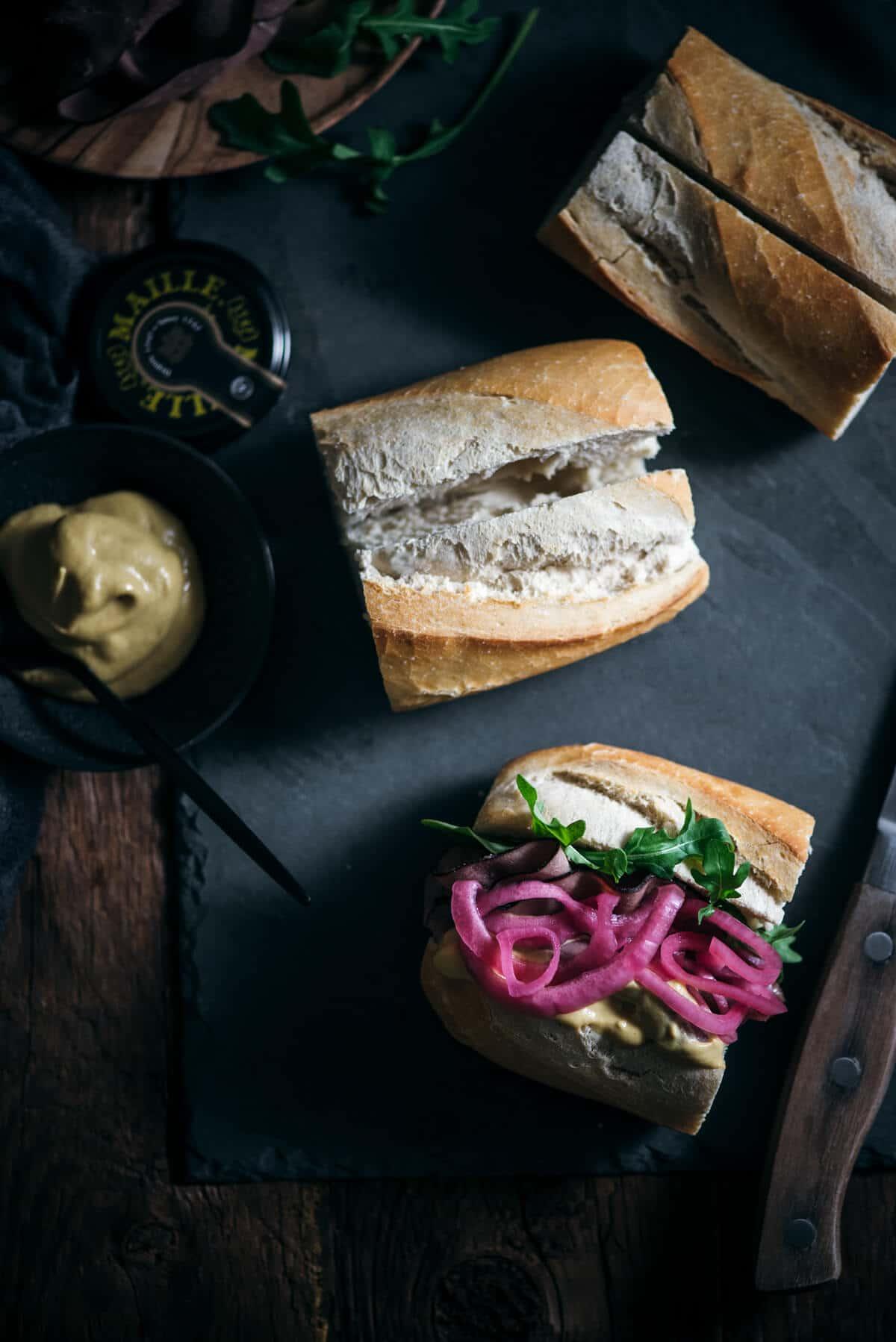 Making an easy roast beef sandwich