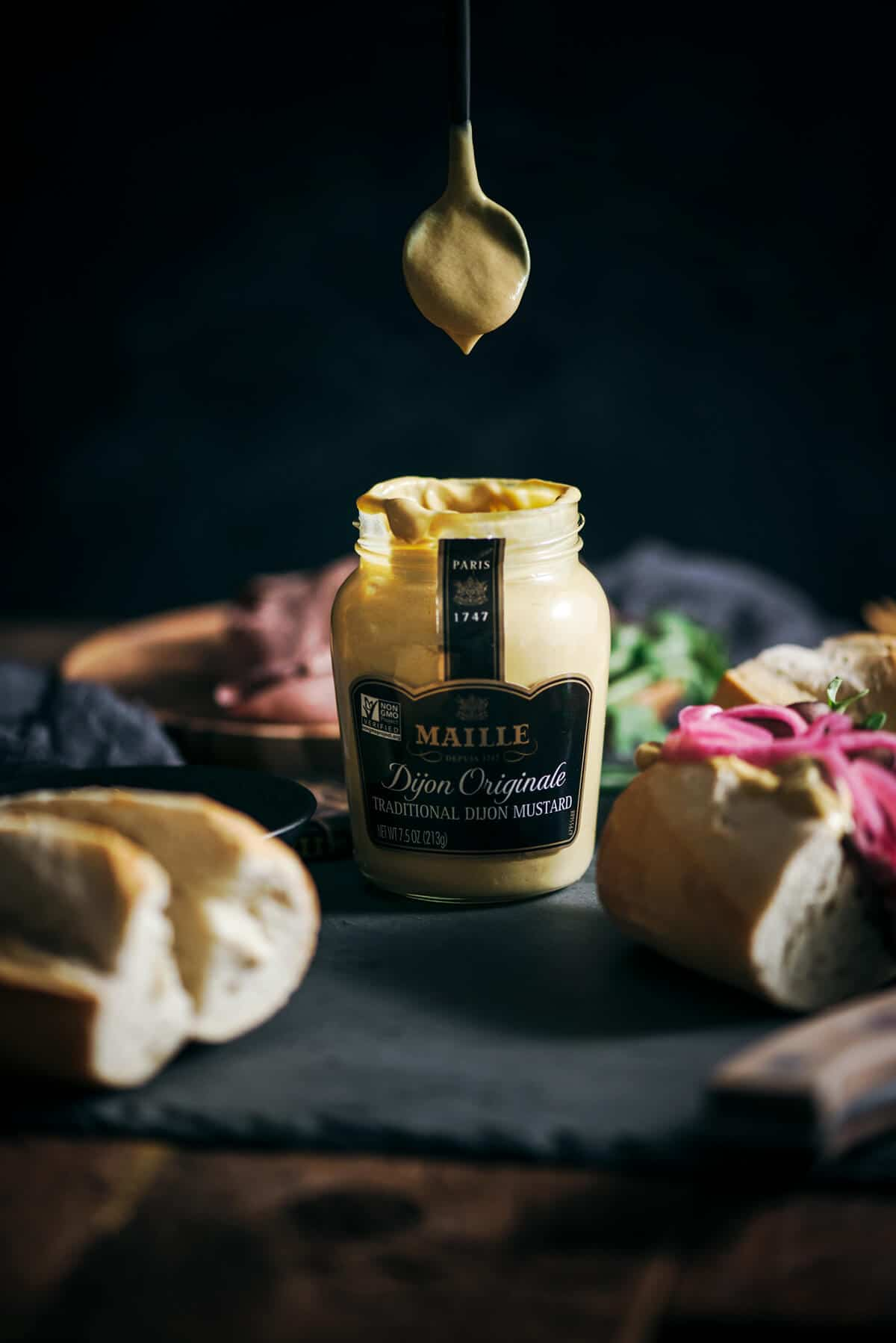 Spoonful of Maille Dijon Originale Mustard