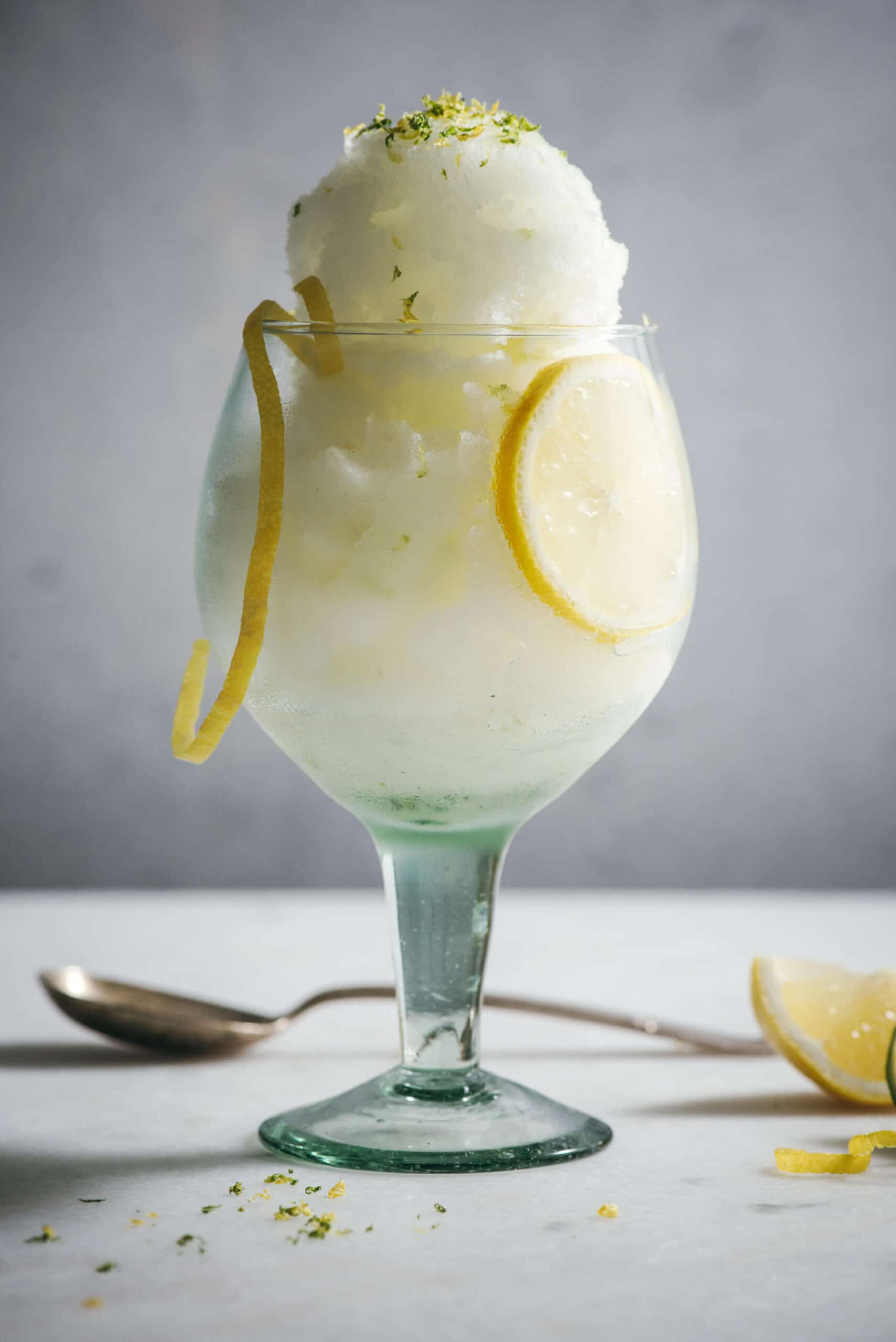 G and T sorbet in a glass