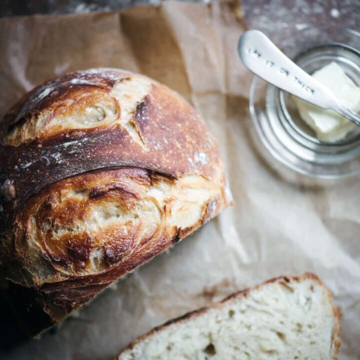 Loaf of Dutch oven artisan bread recipe