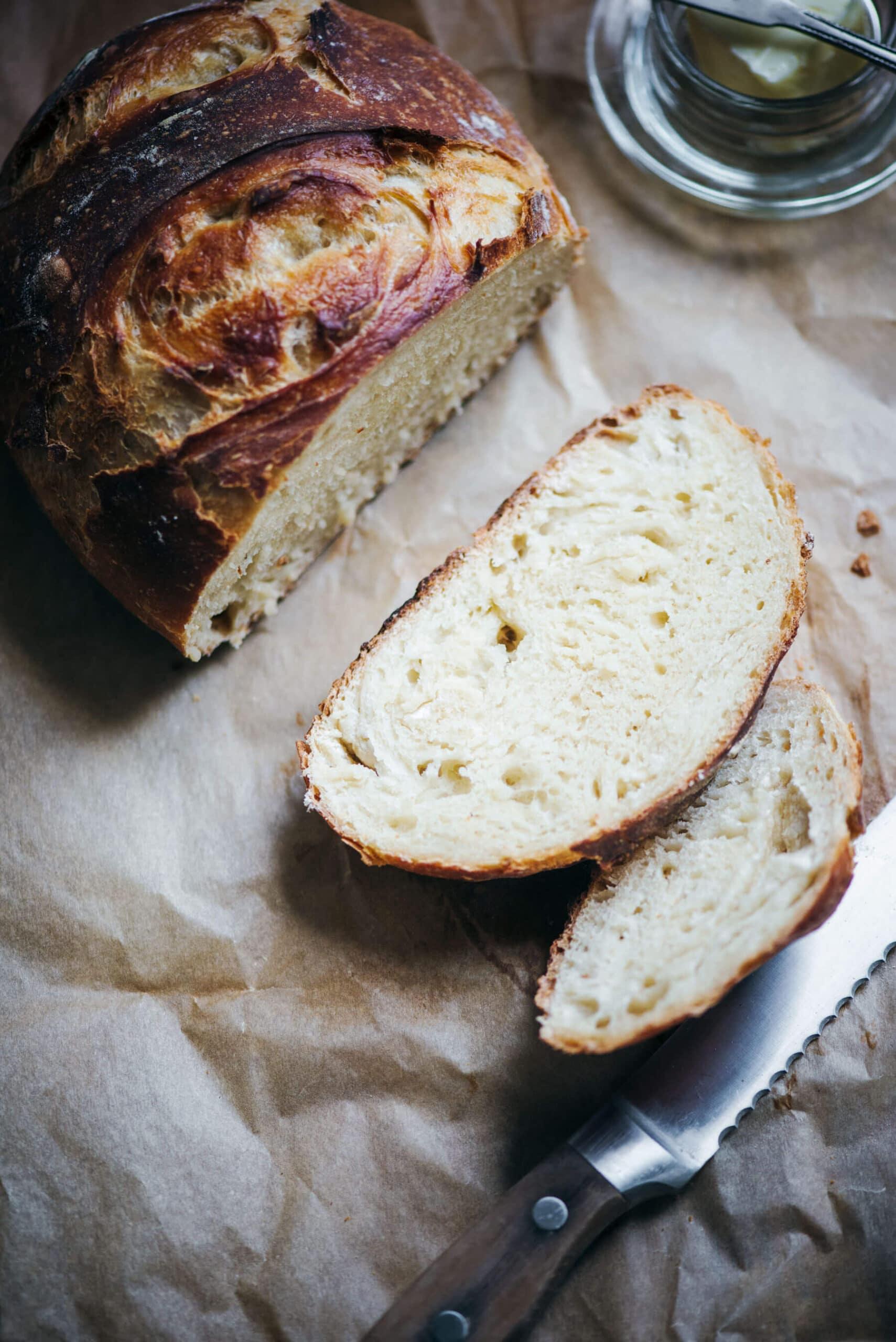 Sliced white artisan crusty bread