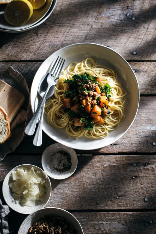 Easy Dinner Ideas: Pancetta with Roasted Butternut Squash and Kale Pasta